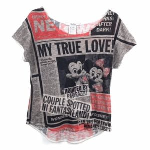 Disney Parks Mickey Minnie Burn Out Shirt Top
